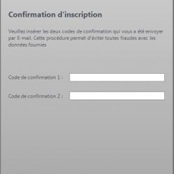 Inscription confirmation