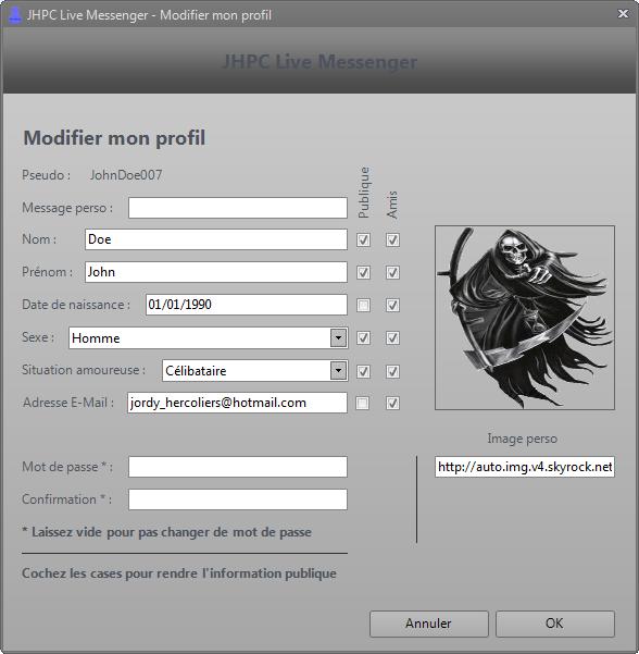 Modifier profil